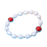 7inch Pearl Bracelet With Red Coral