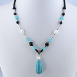 Amazonite Necklace N0077Pea Black Agate