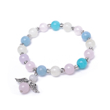 Muti-gemstone Bracelet with angel wing