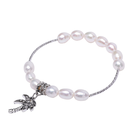Pearl Bracelet Featured With Metal Palm Tree