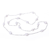 8x10 White Pearl Metal Necklace