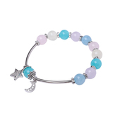 Multi-Gemstone Bracelet with Moon and Star