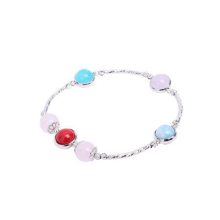 Aquamarine red coral bracelet with metal