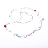 8MM Pearl Necklace with Red coral aquamarine